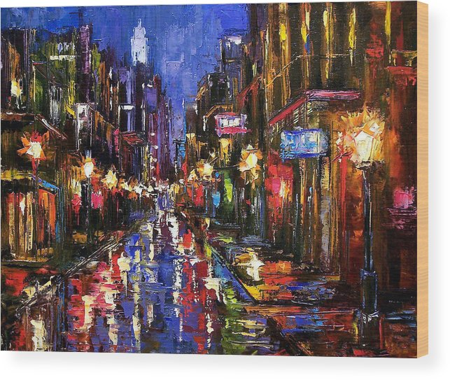Cityscape Wood Print featuring the painting New Orleans Storm by Debra Hurd
