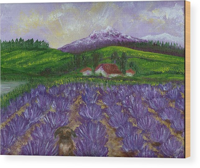 Sunrise Wood Print featuring the painting Nui In Lavender Field by Laura Johnson