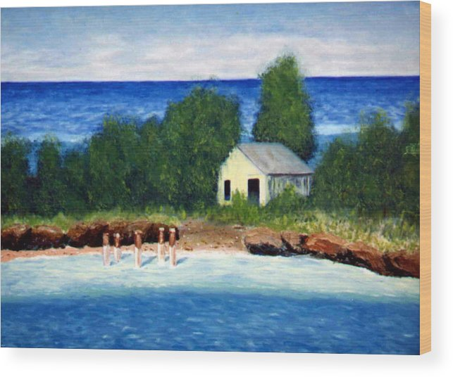 Seascape Wood Print featuring the painting Ocean Shack by Stan Hamilton