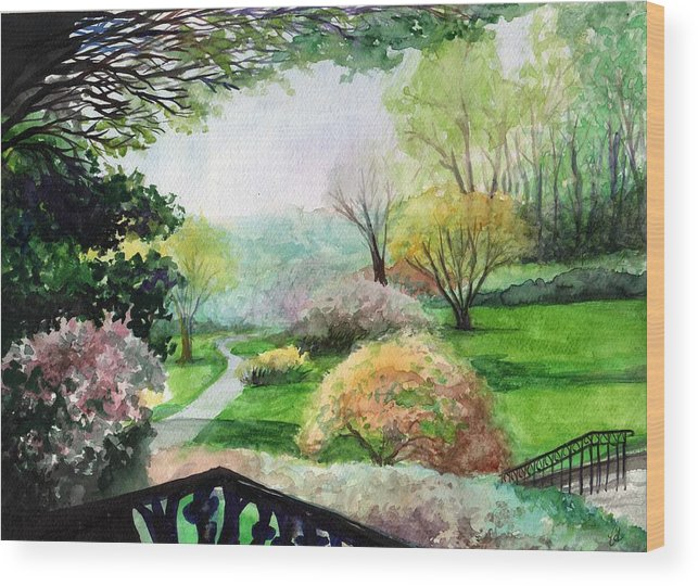 Spring Wood Print featuring the painting Ohio Garden by Carrie Auwaerter
