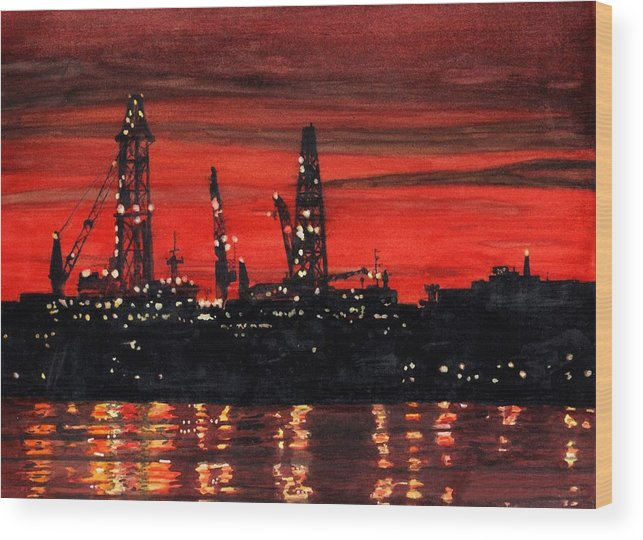 Cityscape Wood Print featuring the painting Oil Rigs Night Construction Portland Harbor by Dominic White