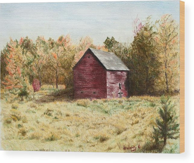 Old Barn Artworks Wood Print featuring the drawing Old Homestead Barn by Kathy Roberts