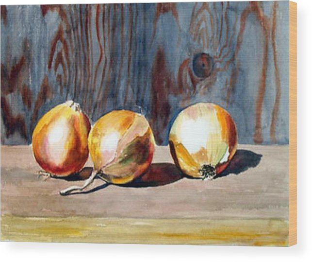 Still Life Wood Print featuring the print Onions In The Sun by Anne Trotter Hodge