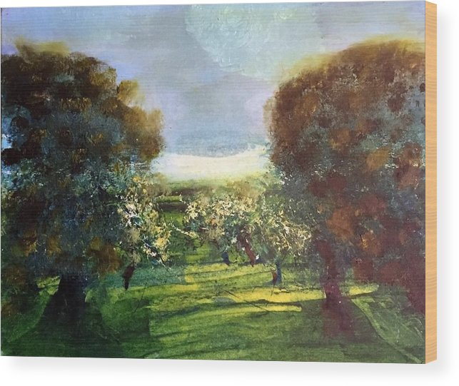 Wood Print featuring the painting Orchard by Martha Dolan