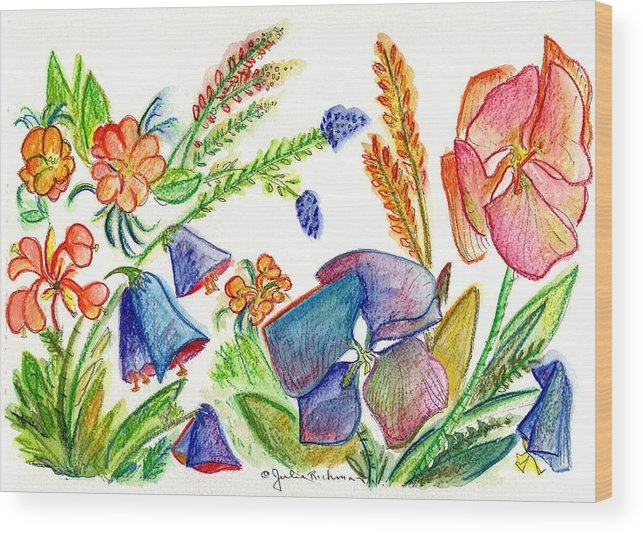 Flowers Wood Print featuring the painting Orchid No. 13 by Julie Richman