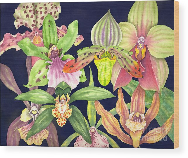 Orchids Wood Print featuring the painting Orchids by Lucy Arnold