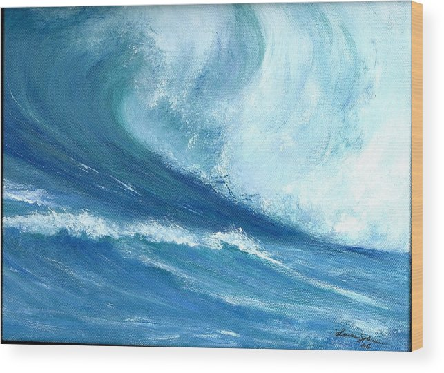 Wave Wood Print featuring the painting Outside Looking In by Laura Johnson