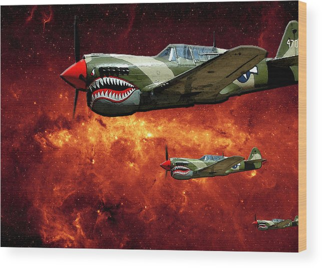 P40 Wood Print featuring the photograph P40s A Long Ways From Home by Lawrence Costales