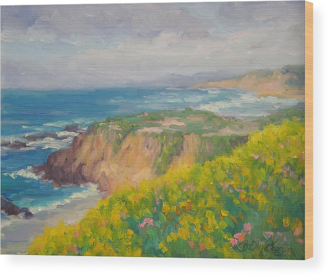 Seascape Wood Print featuring the painting Pacific Sun by Bunny Oliver
