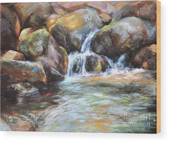 Mountain Stream Wood Print featuring the painting Painted Rocks by Katherine Tucker