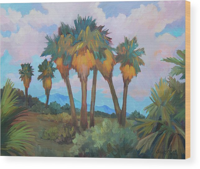 Anza Wood Print featuring the painting Palms At Anza Borrego State Park by Diane McClary