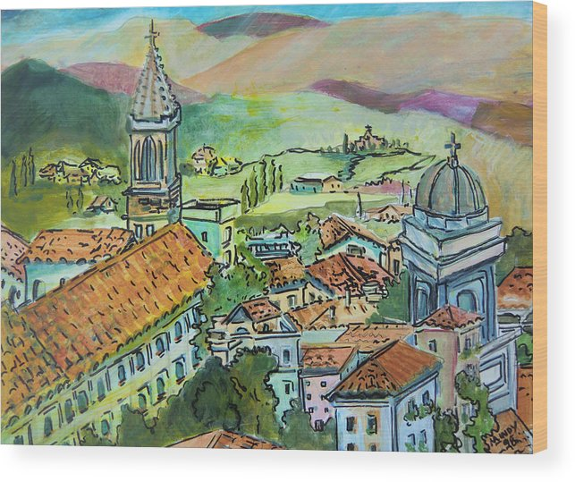 Perugia Wood Print featuring the painting Perugia Italy by Mindy Newman