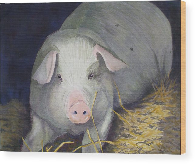 Pig Wood Print featuring the painting Petunia by Ally Benbrook