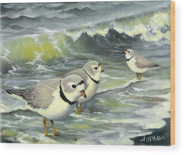 Piping Plovers Wood Print featuring the painting Piping Plovers At The Shore by Tara Milliken