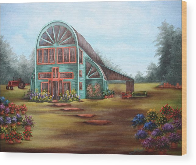 Greenhouse Wood Print featuring the painting Plants For Sale by Ruth Bares