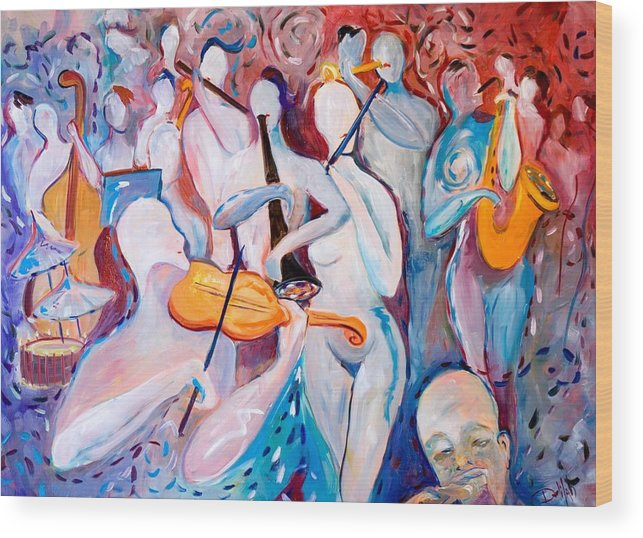 Music Wood Print featuring the painting Play The Music by Delilah Smith