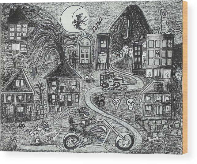 Wood Print featuring the drawing Police On Halloween Night Jerome Az. by Ingrid Szabo