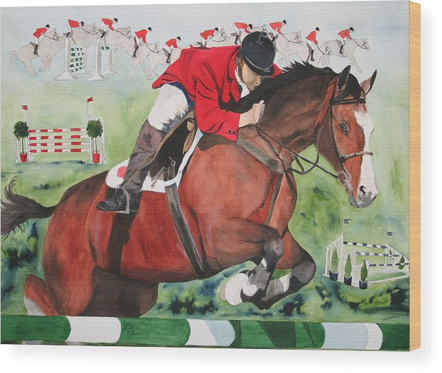 Horse Wood Print featuring the painting Practice Makes Perfect by Jean Blackmer