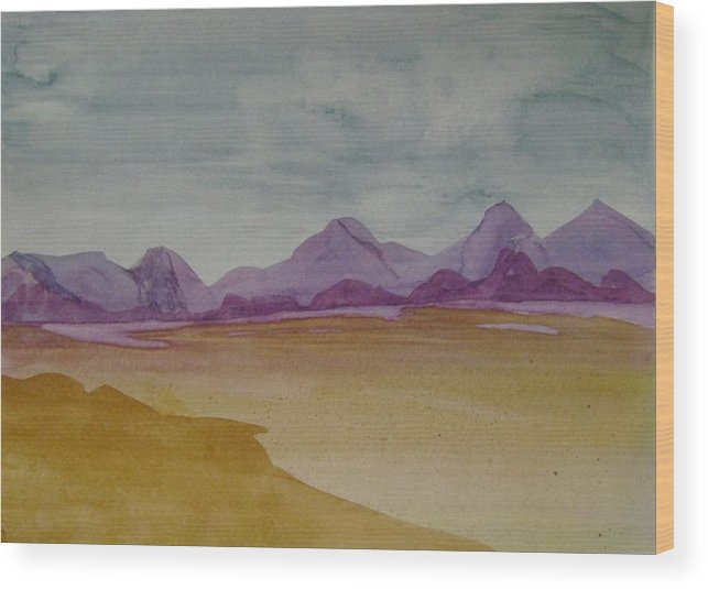 Purple Mounatians Wood Print featuring the painting Purple Mountains 2 by Dottie Briggs