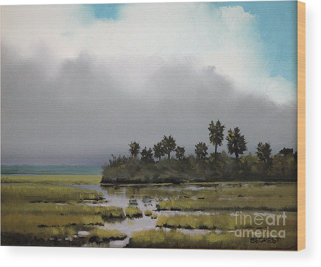 Landscape Wood Print featuring the painting Rain On The Way by Glenn Secrest