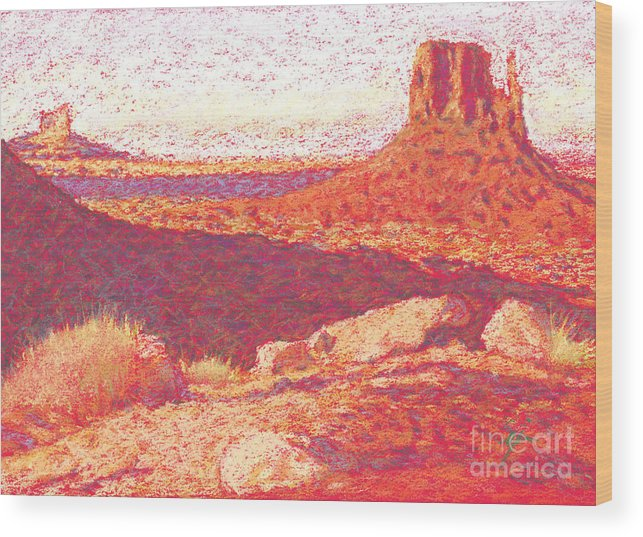 Buttes And Mesas Wood Print featuring the drawing Red Desert by Suzie Majikol Maier