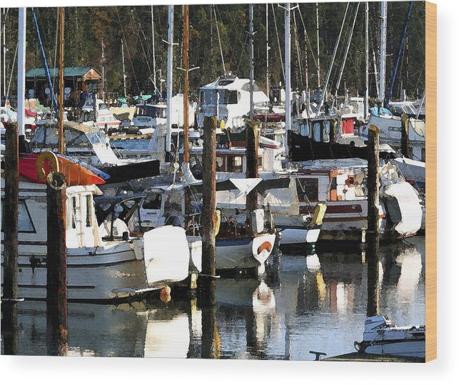Dock Wood Print featuring the photograph Reflections At Dock II by Mary Gaines