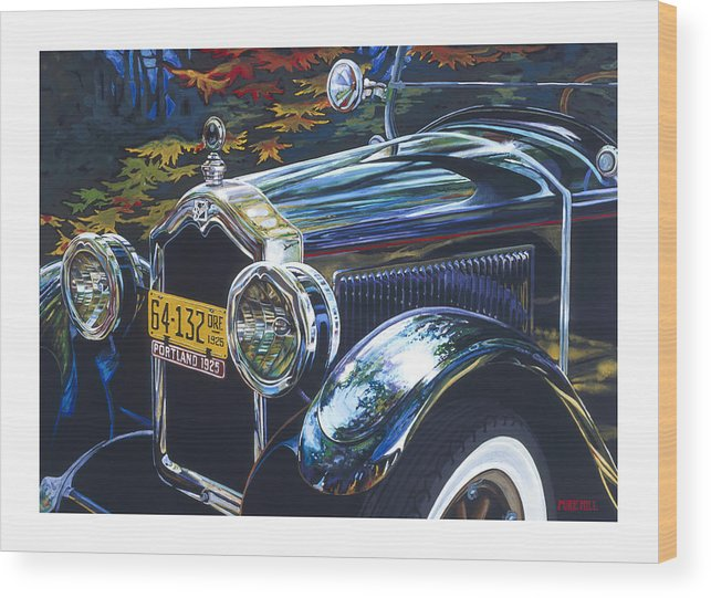 Buick 1925 Portland Ore Car Automobile Antique Black License Plate Reflection Trees Fall Leaf Green Wood Print featuring the painting Roadmaster by Mike Hill