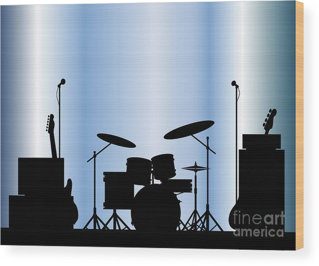 Rock Bandm Guitar Wood Print featuring the digital art Rock Band Equipment by Bigalbaloo Stock
