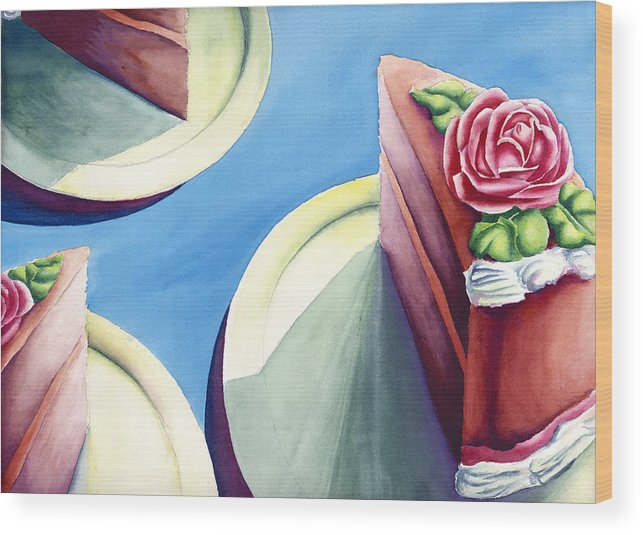 Rose Cake Wood Print featuring the painting Rose Cake by Jennifer McDuffie