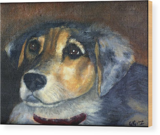 Dog Wood Print featuring the painting Roxie by Gail Kirtz