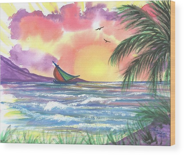 Tropical Seascape Wood Print featuring the painting Sailing Away by Laura Johnson