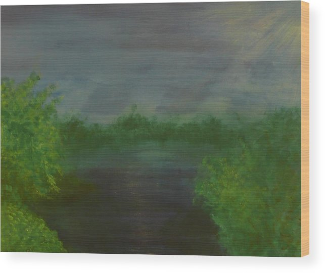 Landscape Wood Print featuring the painting Serenity by Jennifer Hernandez