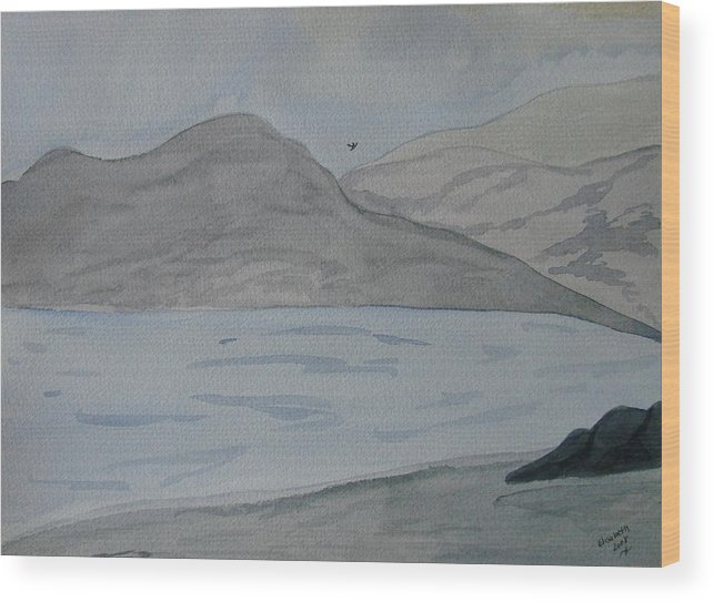 Landscape Wood Print featuring the painting Serenity by Liz Vernand