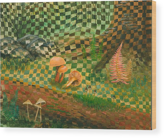 Mushrooms Wood Print featuring the painting Shady Grove by Linda L Doucette