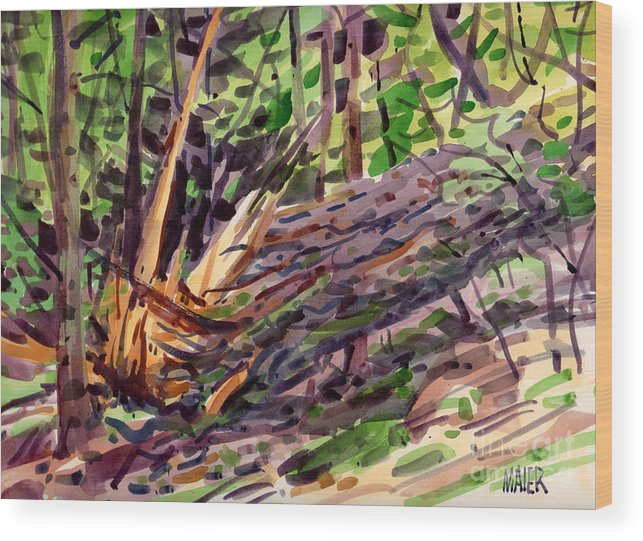 Pine Tree Wood Print featuring the painting Shattered Pine by Donald Maier