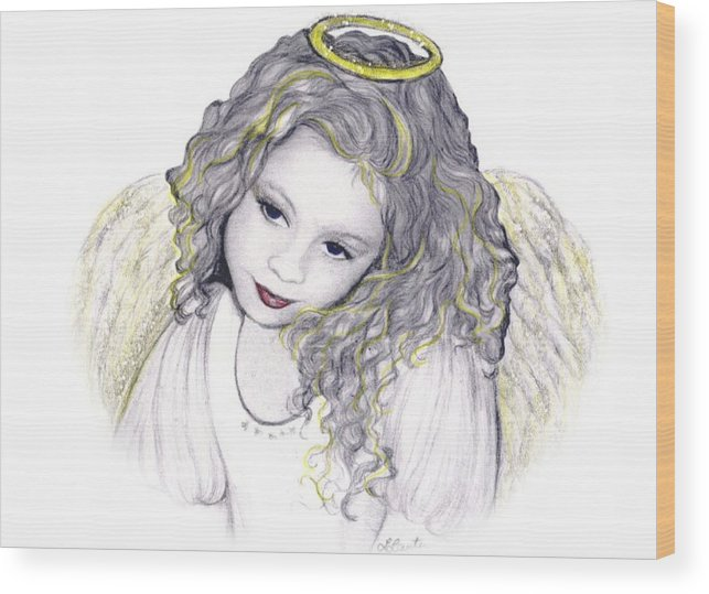 Angel Wood Print featuring the drawing Shelangel by L Lauter