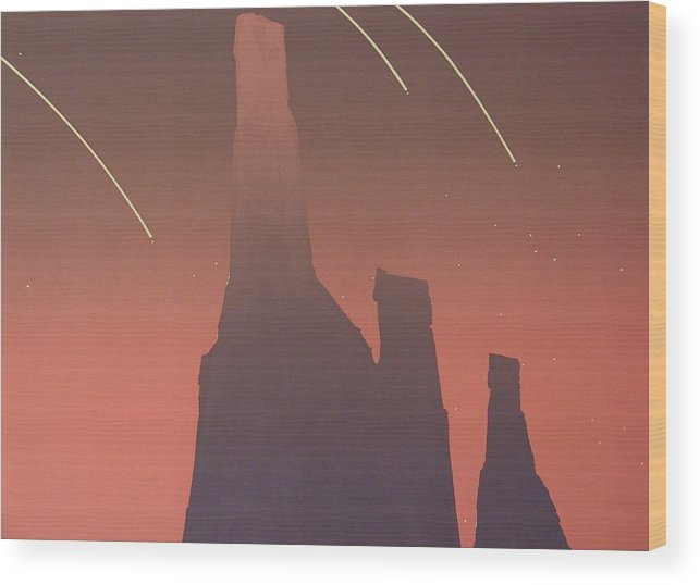 Shooting Stars Wood Print featuring the painting Shooting Star II by Gary Kaemmer