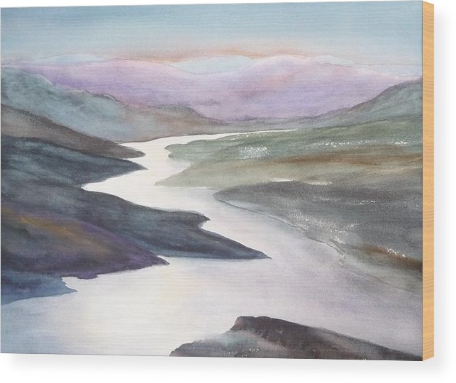 River Wood Print featuring the painting Silver Stream by Ruth Kamenev