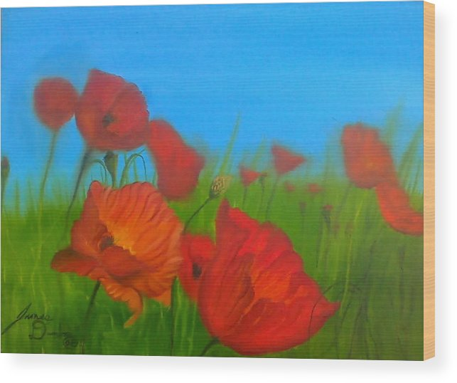 Red Impressionism Wood Print featuring the painting Sky Blue Poppies by Portland Art Creations