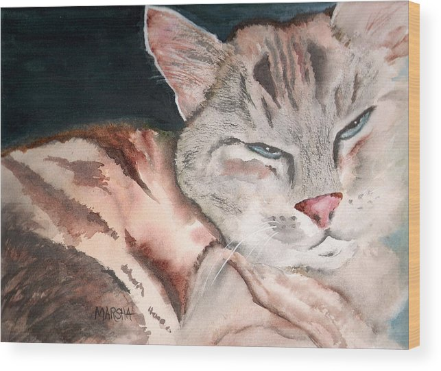 Animal Cat Painting Watercolor Wood Print featuring the painting Sleepy Cat by Marsha Woods