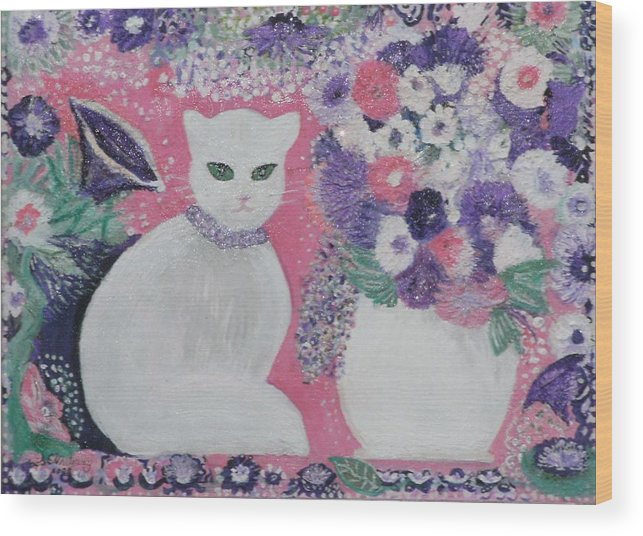 White Cat Purple Pink Still Life Whimsy Lavender Fancy Pretty White Cat Wood Print featuring the mixed media Snow's Garden by Anne-Elizabeth Whiteway