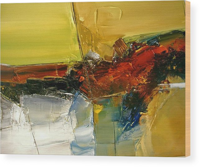Abstract Wood Print featuring the painting Something Always Lies Beneath Or Above by Stefan Fiedorowicz