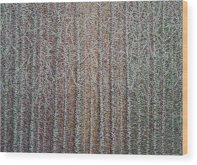 Birch Aspen Tree Landscape Abstract Pointalism Impressionism Wood Print featuring the painting Something To Go With Your Clock by Sally Van Driest