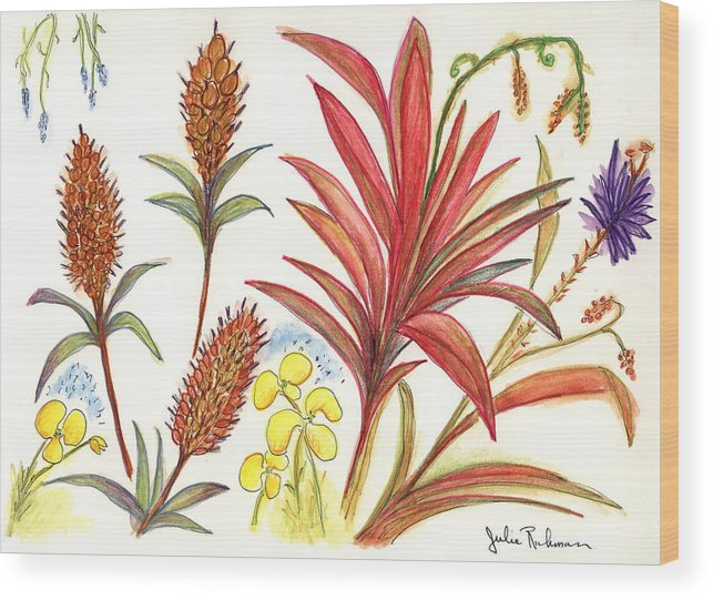 Red Flowers Wood Print featuring the painting Spiky Florida Flowers by Julie Richman