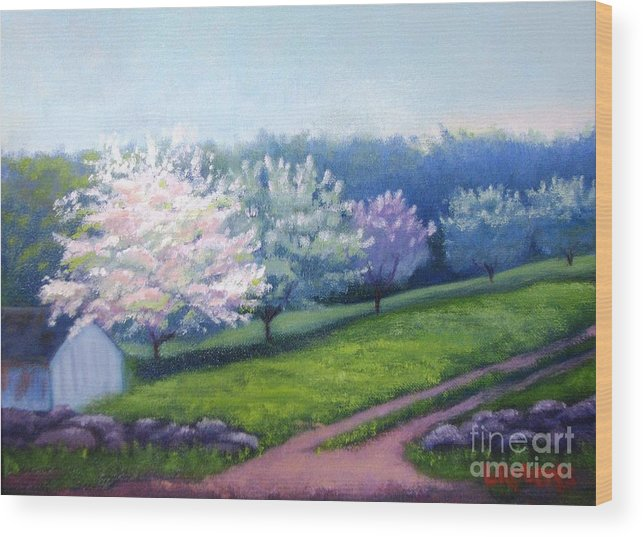 Apple Blossoms Wood Print featuring the painting Spring In New England by Laura Roberts