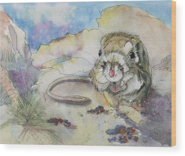 Kangaroo Rat Wood Print featuring the painting Squiggy by Gina Hall