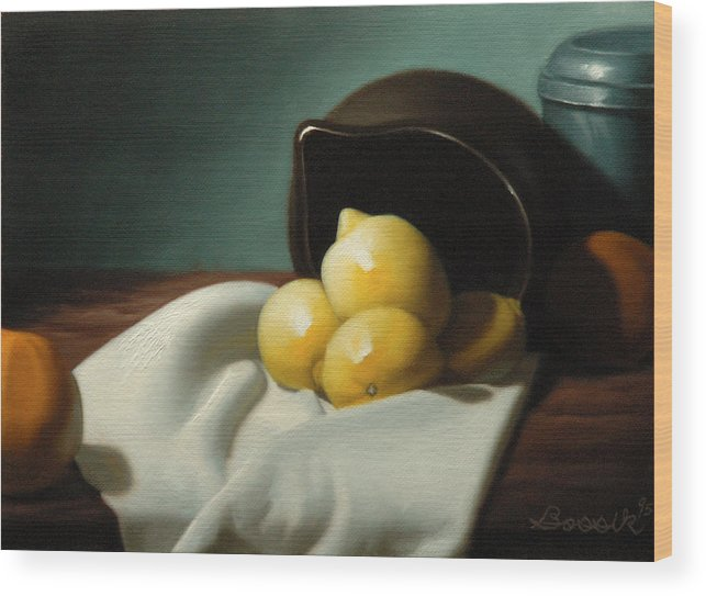 Still Life Painting Wood Print featuring the painting Still Life Painting Three Beauties by Eric Bossik