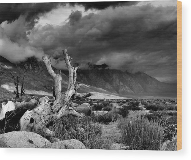 Monotone Wood Print featuring the photograph Storm Over Wheeler Crest by Chris Morrison