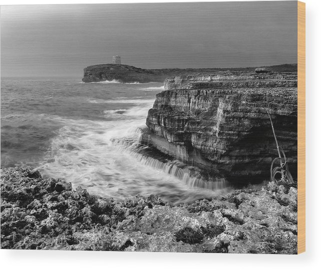 Storm Wood Print featuring the photograph stormy sea - Slow waves in a rocky coast black and white photo by pedro cardona by Pedro Cardona Llambias