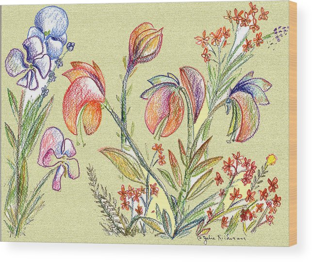 Orchids Wood Print featuring the digital art Strange Orchid Drawing by Julie Richman
